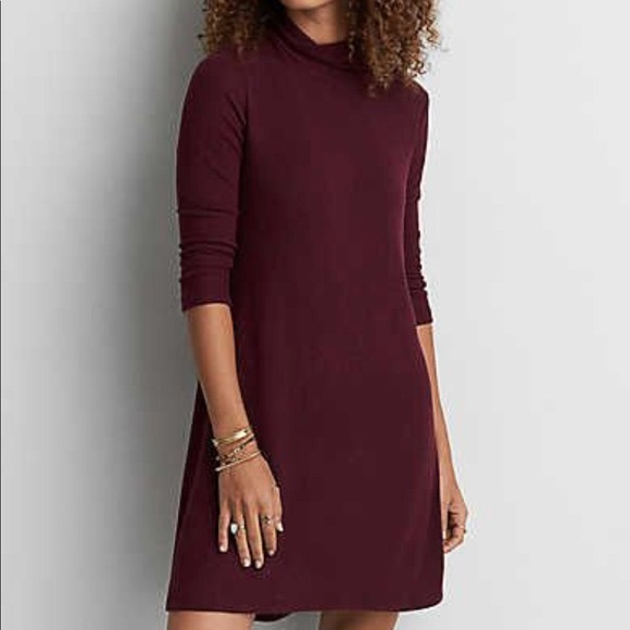 American Eagle Outfitters Dresses & Skirts - NEW AEO Burgundy Turtleneck Long Sleeve Dress